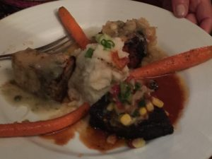 Swordfish served three ways with Mashed Potatoes and Carrots