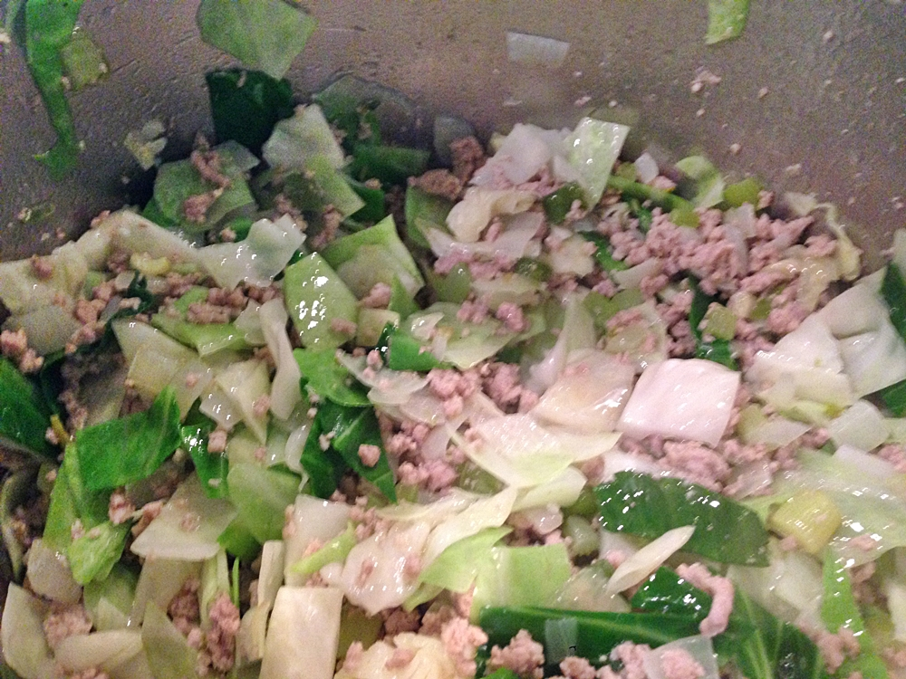 Cabbage dressing in process before the reducing starts Old Southern Rice Dressing www.diningwithmimi.com
