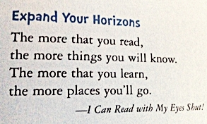 Quote from Dr Seuss Expand Your Horizons Writers Group www.diningwithmimi.com