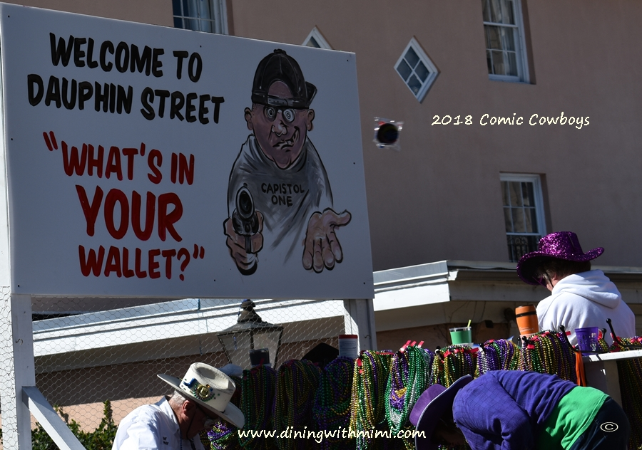 Cartoons from parade Sprining into Mobile with Comic Cowboys www.diningwithmimi.com
