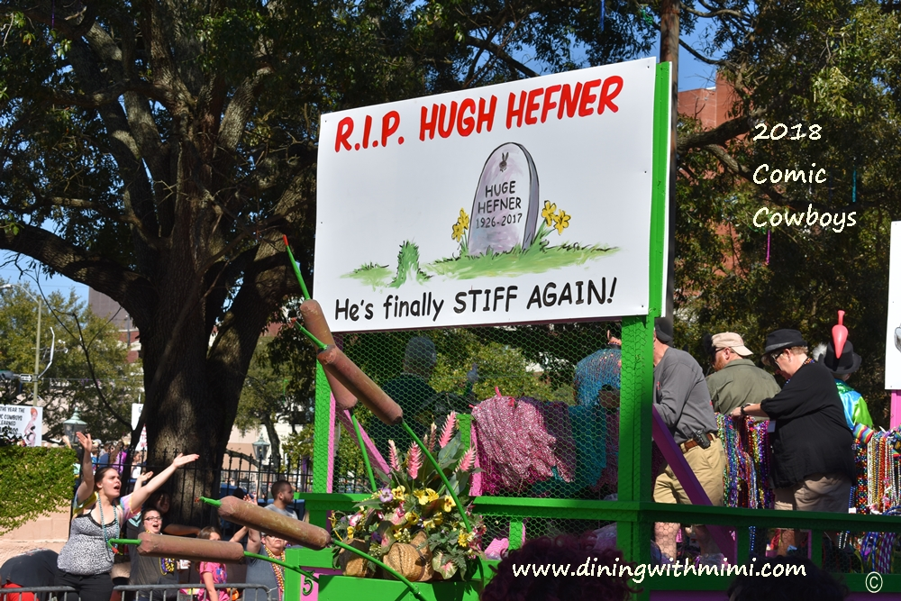 RIP Huge Hefner Cartoons from parade Springing into Mobile with Comic Cowboys www.diningwithmimi.com