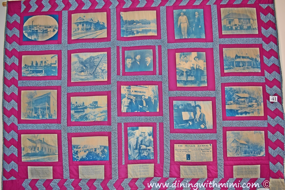 Red, white & blue quilt with scenes from Monroeville Rural Alabama Trip to Inspire
