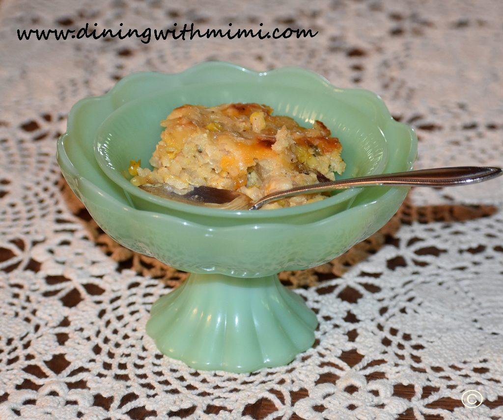 Jadite bowl holding Mimi's Kickin Corn and Rice Casserole www.diningwithmimi.com