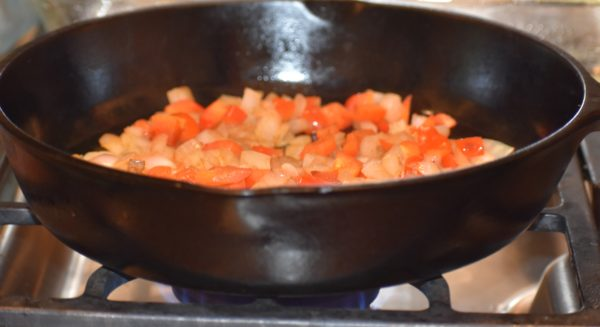 Skillet cooking peppers & onions for Busy Moms Beckon The Bacon Frittata Recipe www.diningwithmimi.com