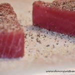 Raw Ahi tuna for Seasoned Ahi Tuna Steaks Sear Then Flip Recipe www.diningwithmimi.com