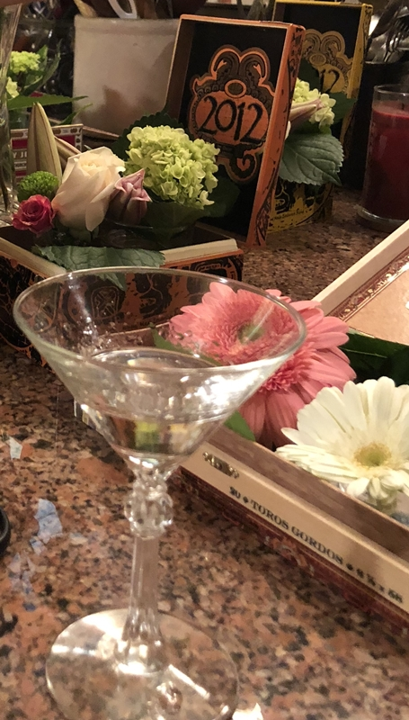 Small florals in cigar boxes created for Fairhope Film Festival VIP luncheon www.diningwithmimi.com