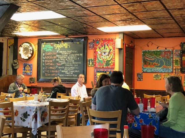 Inside a color painted restaurant in Bywater Need a quickie- Drop into New Orleans for 48 hours www.diningwithmimi.com