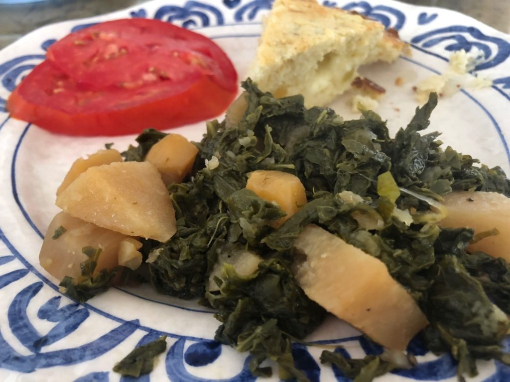 Platter of salubrious Turnip greens and roots www.diningwithmimi.com
