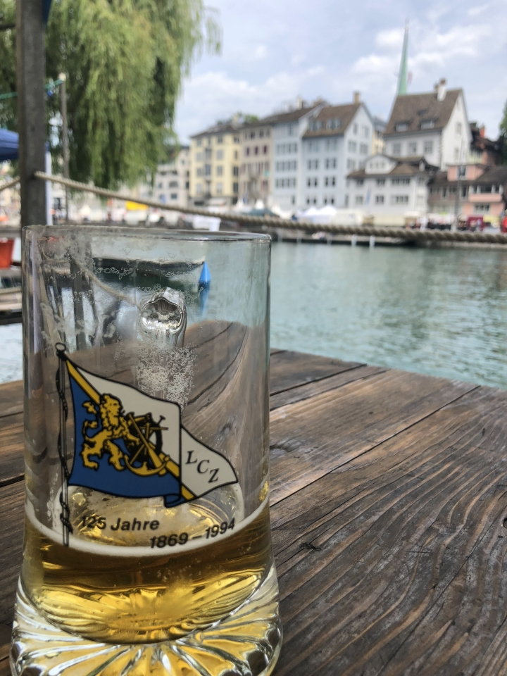 Beer Stein on Zurich River in Missing The Swiss while Jet-lagged and hoarding chocolate www.diningwithmimi.com