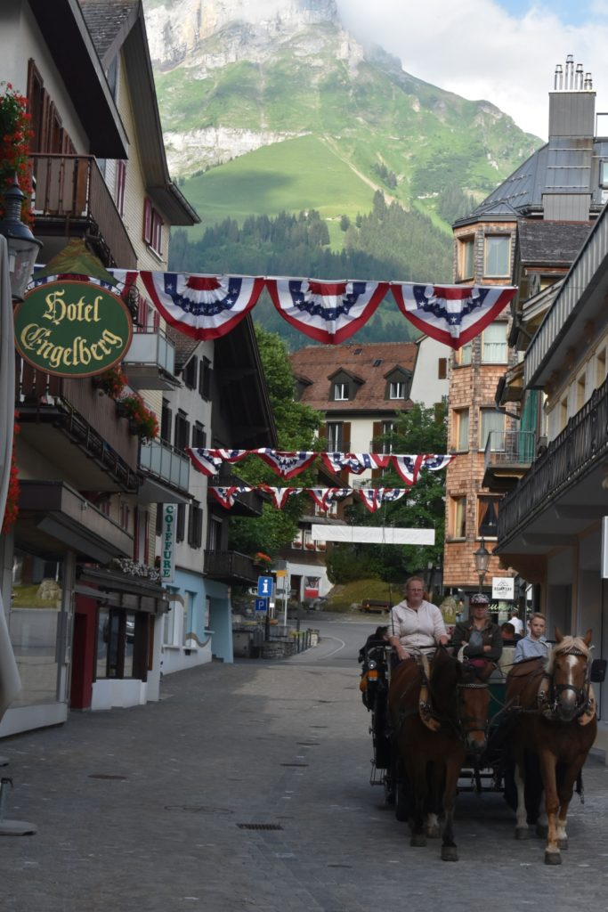 Hotel Engelberg view with horse and carriage for Dazed by Engelberg in July 01 www.diningwithmimi.com