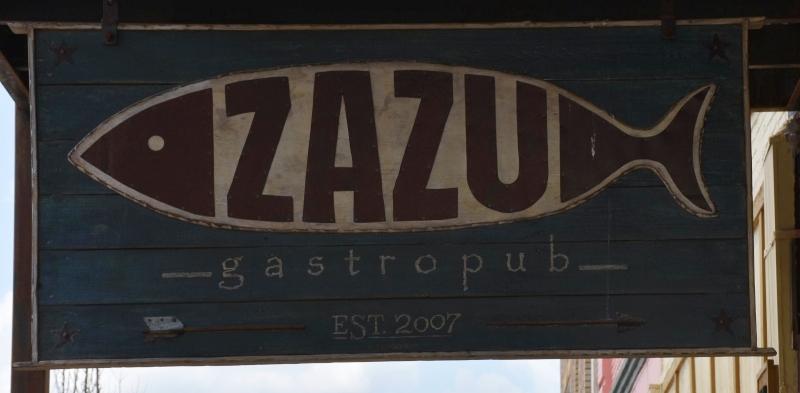 Zazu Gastropub Sign in Adorable Opelika and Songwriters Festival 2020 www.diningwithmimi.com