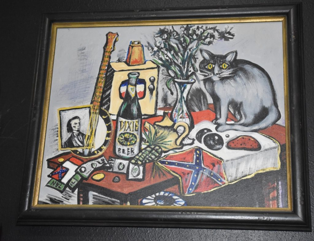 Frederick Marchman Painting Titled Confederate Still Life with Grey Cat www.diningwithmimi.com