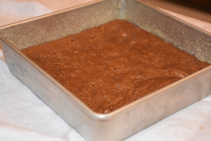 Baked pan of Mimis Nutty Fudgy Brownies www.diningwithmimi.com