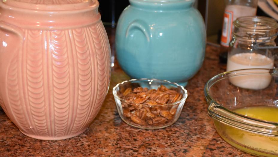 Vintage Shawnee Flour and Sugar Canisters  with pecans, cream and butter