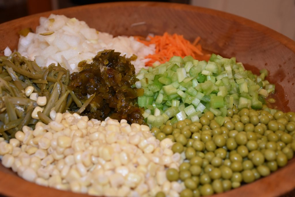 Corn, Sweet Peas, Green Beans, Onion, Celery, candied jalapenos and more for Companys Coming Premade Steeped Side Salad